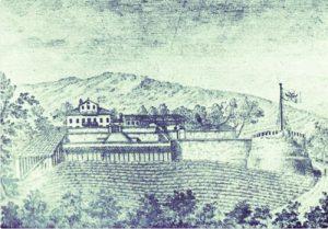 """La residenza in una stampa di fine settecento. La stampa della Casa dominicale dei Bonomo è stampata sul testo di Pietro Covre, """"Cronache di patrizi triestini"""", del 1975."""