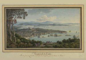 """Dipinto di Cassas pubblicato vent'anni dopo nella raccolta di stampe """"Voyage pittoresque et historique de l'Istrie et de la Dalmatie""""."""